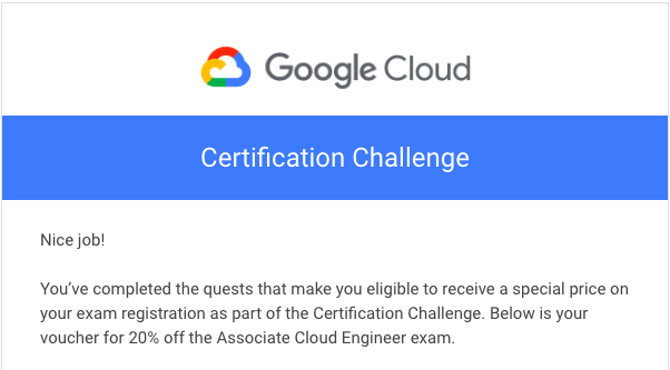 GCP Challenge Voucer code mail